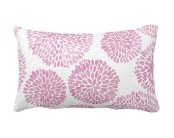 "Watercolor Chrysanthemum Throw Pillow/Cover, Pink Lemonade/White 14 x 20"" Lumbar Pillows/Covers, Pink Abstract/Modern/Floral/Flower Print"