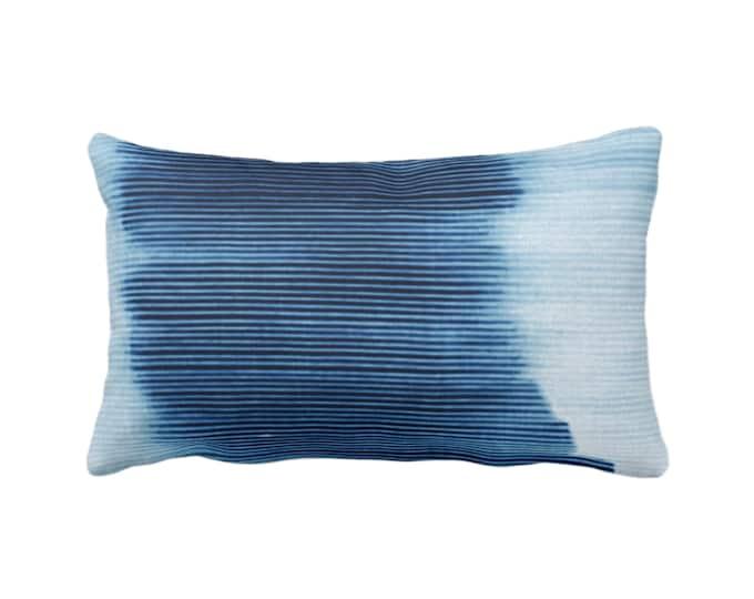 "OUTDOOR Indigo Ombre Stripe Throw Pillow or Cover 14 x 20"" Lumbar Pillows/Covers, Blue Geometric/Art/Print/Design/Striped/Stripes/Geo/Lines"