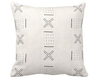 "OUTDOOR Mud Cloth Print Throw Pillow or Cover, X Outline & Dots Off-White/Black 16, 18 or 20"" Sq Pillows/Covers, Mudcloth/Boho/Tribal/Design"