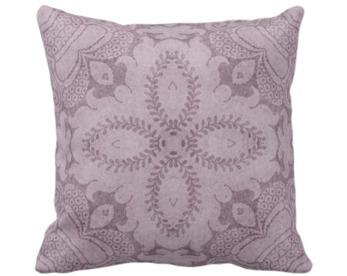 "OUTDOOR Nouveau Damask Throw Pillow or Cover, Dusty Plum 14, 16, 18, 20, 26"" Sq Pillows/Covers, Deep Purple Floral/Batik/Boho/Tribal Print"
