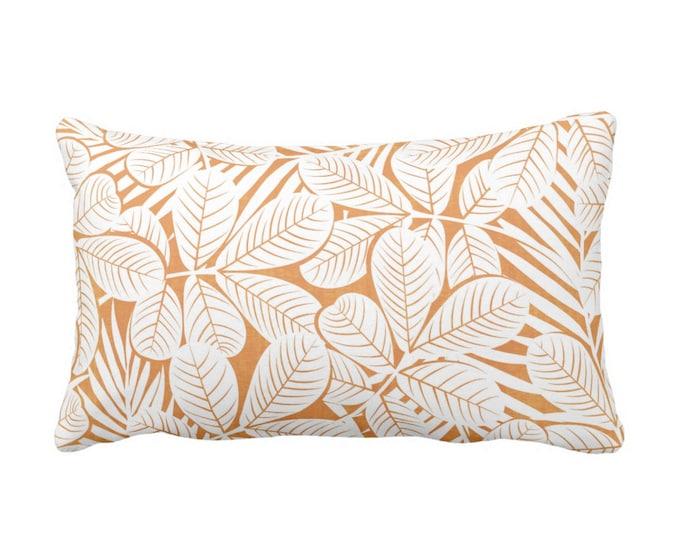 "OUTDOOR Modern Leaves Throw Pillow or Cover, Mango/White Print 20 x 14"" Lumbar Pillows/Covers, Light Orange Retro Tropical Botanical Pattern"