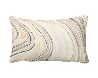 "OUTDOOR Marble Print Throw Pillow or Cover, Taupe/Beige 14 x 20"" Lumbar Pillows/Covers, Tan/Gray Modern/Abstract/Marbled/Wave Pattern"