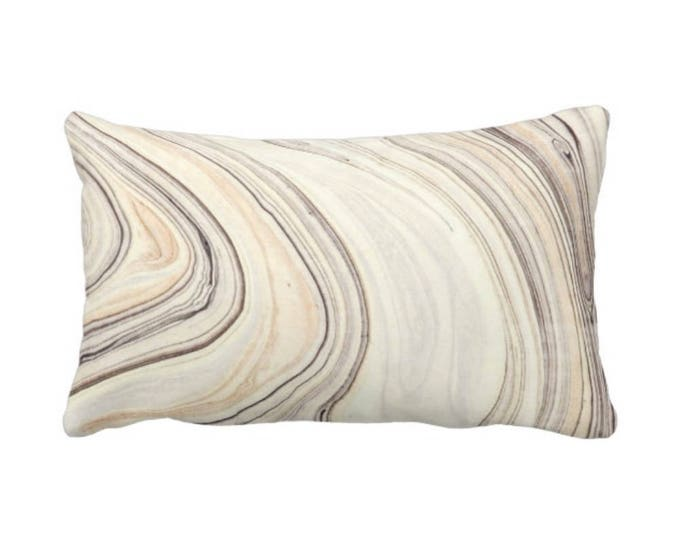 """Marble Print Throw Pillow or Cover, Taupe/Beige 14 x 20"""" Lumbar Pillows or Covers, Tan/Gray Modern/Abstract/Marbled/Wave Pattern"""