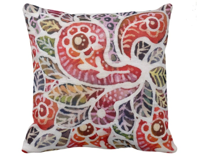 """OUTDOOR Colorful Batik Throw Pillow/Cover 14, 16, 18, 20"""" Sq Pillows/Covers, Rainbow Boho/Jungalo Vintage Thai/Indonesian/Maio Print/Pattern"""