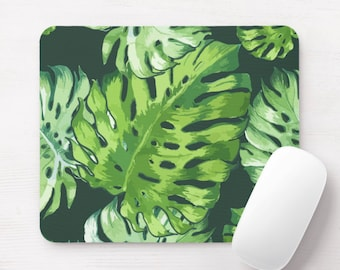 Watercolor Tropical Leaves Print Mouse Pad, Colorful Vintage Floral/Botanical Mousepad