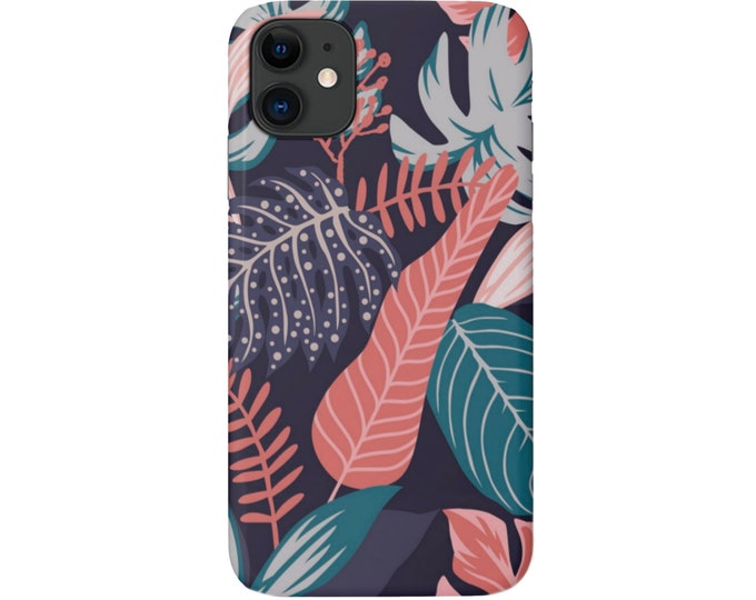 Palm Botanical iPhone 11, XS, XR, X, 7/8, 6/6S Pro/Max/Plus/P Snap-On Cover or Tough Protective Case, Blue/Pink Tropical Pattern, Galaxy lg