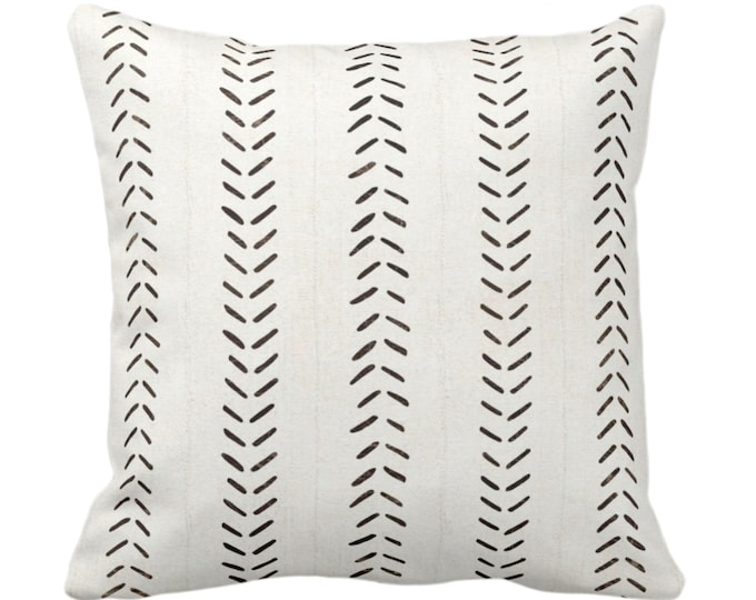 """OUTDOOR Mud Cloth Print Throw Pillow or Cover, Off-White/Black 14, 16, 18, 20, 26"""" Sq Pillows or Covers, Mudcloth/Boho/Arrows/Tribal/Design"""