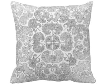 "OUTDOOR Batik Print Throw Pillow or Cover, Light Gray 14, 16, 18, 20, 26"" Sq Covers, Grey/Pewter Floral/Geometric/Boho/Tribal/Hmong/Design"