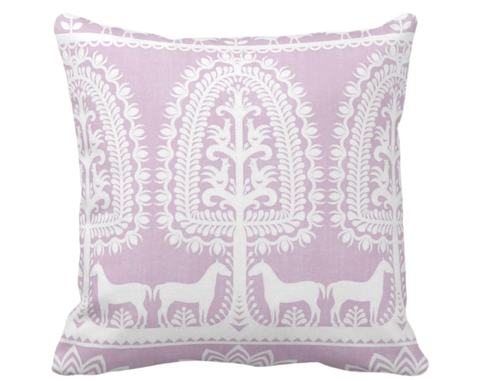 "Folk Print Throw Pillow or Cover Light Aster/White 16, 18, 20, 26"" Sq Pillows/Covers Pastel Purple Animal/Floral/Mexican/Boho/Tribal Pattern"