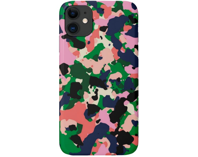 Colorful CAMO iPhone 11, XS, XR, X, 7/8, 6/6S Pro/Max/Plus/P Snap Case or Tough Protective Cover, Bright Camouflage Abstract Print/Pattern