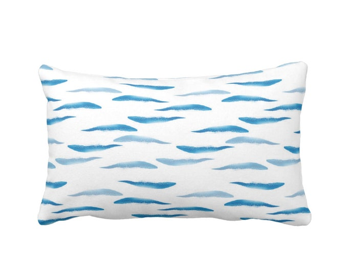 """OUTDOOR Watercolor Waves Throw Pillow or Cover, 14 x 20"""" Lumbar Pillows/Covers, Ocean Blue & White Abstract/Modern Wave Nautical Pattern"""