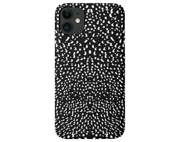 Mirrored Spots iPhone 11, XS, XR, X, 7/8, 6/6S P/Pro/Plus/Max Snap Case or TOUGH Protective Cover Black/White Animal/Spotted/Dots, Galaxy/lg