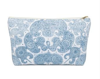 Batik Print Zippered Pouch, Coastal Blue Tribal Design, Cosmetics/Pencil/Make-Up Organizer/Bag, Boho/Hmong/Floral/Geometric/Geo Pattern