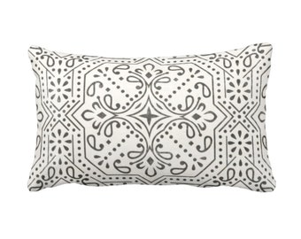 "SALE - OUTDOOR Tile Print Throw Pillow Cover, Ivory/Charcoal 14 x 20"" Lumbar Covers, Off-White Geometric/Batik Pattern"