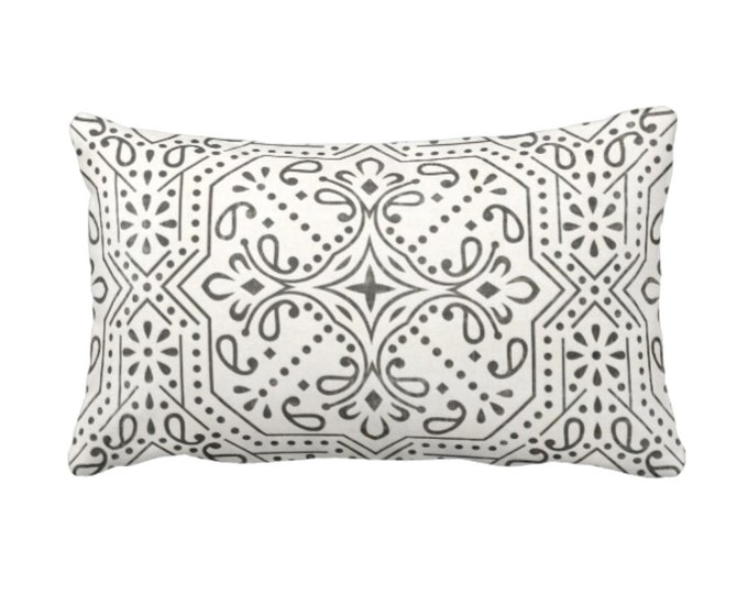 "Tile Print Throw Pillow or Cover, Ivory/Charcoal 14 x 20"" Lumbar Pillows or Covers, Off-White Geometric/Batik/Lattice Pattern"