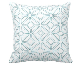 "OUTDOOR Tribal Trellis Throw Pillow/Cover, Teal/White 14, 16, 18, 20, 26"" Sq Pillows/Covers, Blue Geometric/Diamond/Triangle Print/Pattern"