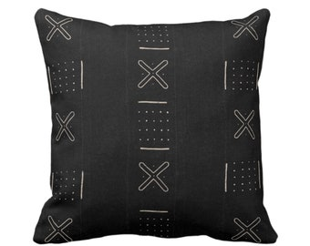 """OUTDOOR Mud Cloth Print Throw Pillow Cover, X Outline & Dots Black/Off-White 14, 16, 18, 20, 26"""" Sq Covers, Mudcloth/Boho/Tribal/Design"""