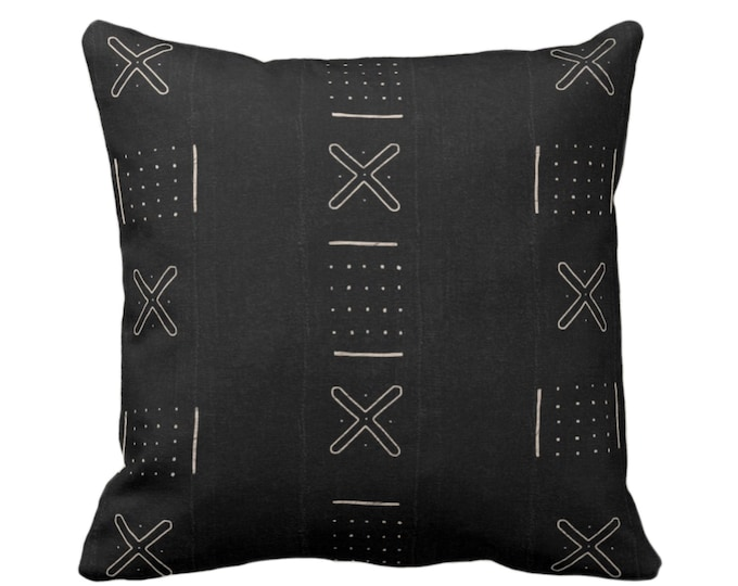 "OUTDOOR Mud Cloth Print Throw Pillow Cover, X Outline & Dots Black/Off-White 14, 16, 18, 20, 26"" Sq Covers, Mudcloth/Boho/Tribal/Design"