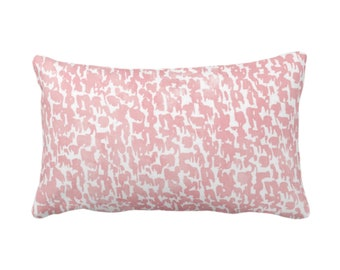 "Blossom Speckled Print Throw Pillow or Cover 14 x 20"" Lumbar Pillows or Covers, Pink//White Abstract/Marbled/Spots/Dots/Painted/Dashes/"