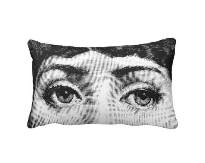 "Fornasetti Eyes Lumbar Throw Pillow or Cover, Modern Black & White 14 x 20"" Pillows or Covers, Woman/Lina Cavalieri/Close-Up/Eye"