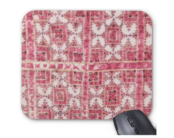 Vintage Embroidery Print Mouse Pad/Mousepad, Pink, Coral & Red Thai Chinese Minority Hill Tribe