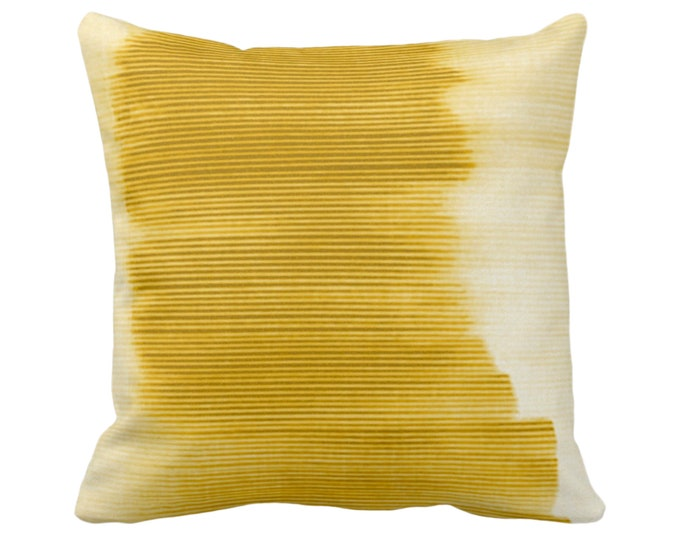 """Horseradish Ombre Stripe Throw Pillow or Cover 14, 16, 18, 20, 26"""" Sq Pillows/Covers, Dark Yellow Geometric/Print/Design/Striped/Geo/Lines"""
