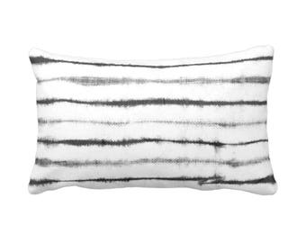 """OUTDOOR Shibori Stripe Lumbar Throw Pillow or Cover, Charcoal/White Print 14 x 20"""" Printed Pillows or Covers, Gray Striped/Lines/Stripes"""
