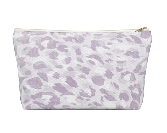 Spots Print Zippered Pouch, Animal Printed Design, Cosmetics/Pencil/Make-Up Organizer/Bag, Pale Lilac Purple Leopard Cat/Ocelot/Spot Pattern