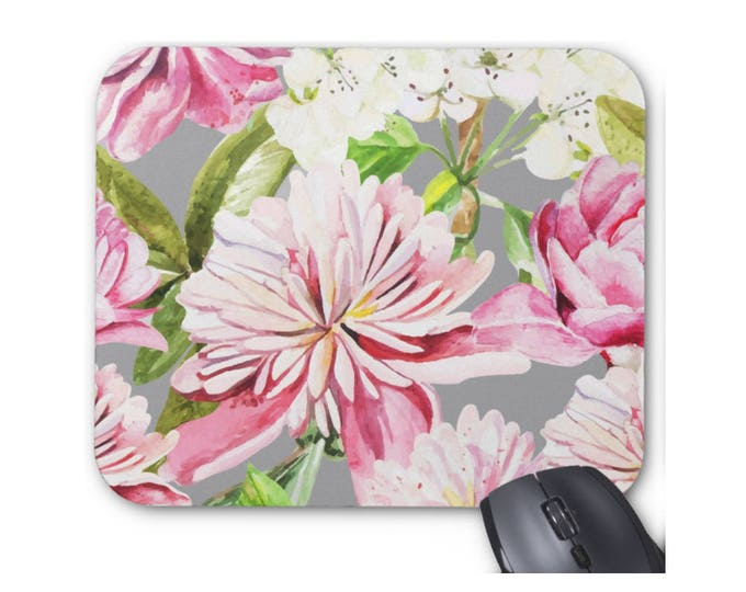 Pink & Gray Watercolor Floral Print Mouse Pad, Colorful Vintage Floral Mousepad