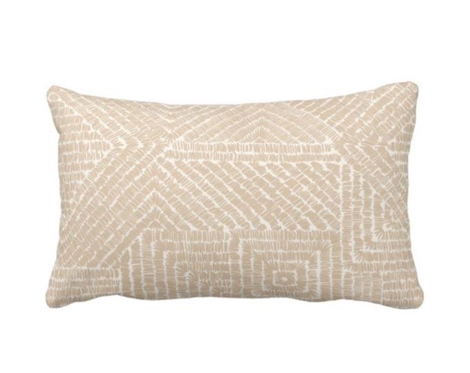 "Tribal Geo Throw Pillow or Cover, Sand 14 x 20"" Lumbar Pillows or Covers, Light Beige/Flax/Cream Scratch Geometric/Batik/Geo/Tribal Print"