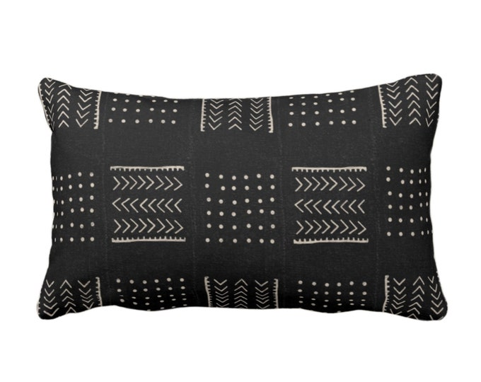 "OUTDOOR Mud Cloth Throw Pillow or Cover, Arrows & Dots Black/Off-White Print 14 x 20"" Lumbar Pillows/Covers, Mudcloth/Tribal/Geometric"
