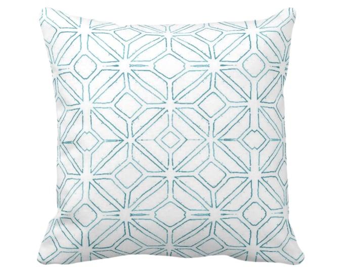 "Tribal Trellis Throw Pillow or Cover, Teal/White 14, 16, 18, 20, 26"" Sq Pillows/Covers, Aqua Geo/Geometric/Diamond/Triangle Print/Pattern"