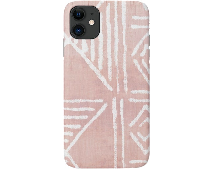 Mud Cloth iPhone 11, XS, XR, X, 7/8, 6/6S, Pro/Max/P/Plus Snap Case or Tough Protective Cover, Faded Pink Boho/Geometric Print Galaxy lg