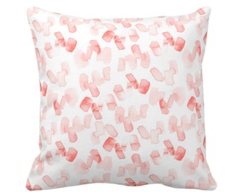 "OUTDOOR Watercolor Confetti Abstract Throw Pillow/Cover, Coral/White 16, 18 or 20"" Sq Pillows/Covers, Minimal/Modern Hand-Dyed Print, Bright"