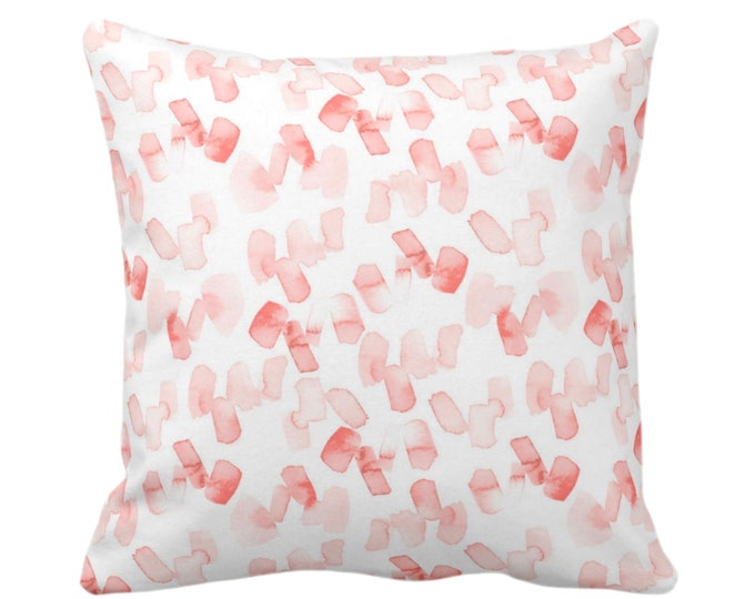 """OUTDOOR Watercolor Confetti Abstract Throw Pillow/Cover, Coral/White 16, 18 or 20"""" Sq Pillows/Covers, Minimal/Modern Hand-Dyed Print, Bright"""