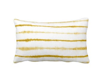 "OUTDOOR Uneven Lines Lumbar Throw Pillow or Cover, Mustard Seed/White 14 x 20"" Pillows or Covers, Shibori/Stripe/Striped/Line, Yellow"