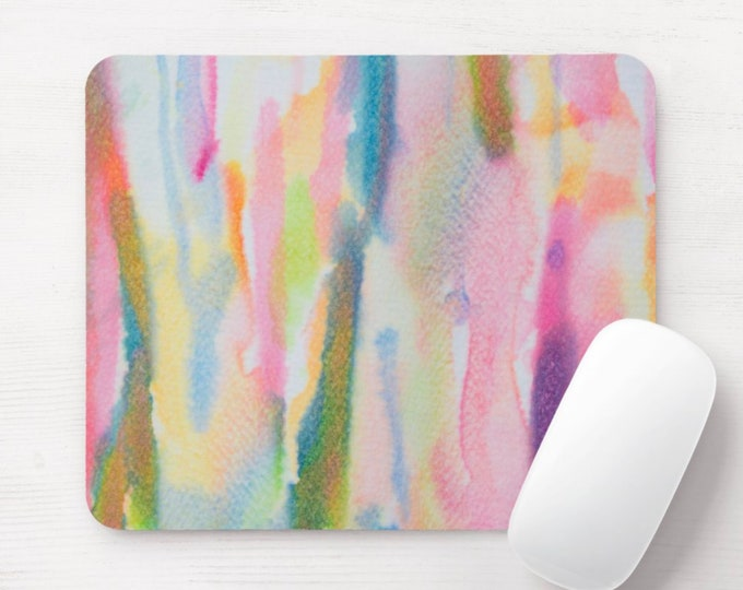 Abstract Watercolor Mouse Pad, Multicolored/Colorful Mousepad, Bright Hand Painted, Pink/Orange/Blue/Green/Yellow, Modern/Minimal Design