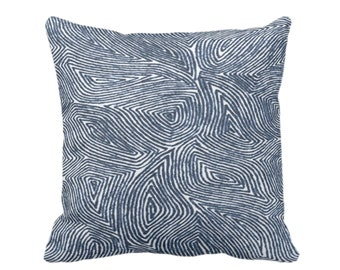 "OUTDOOR Sulcata Geo Throw Pillow/Cover, Navy & White 16, 18 or 20"" Sq Pillows/Covers Dark Blue Abstract Geometric/Tribal/Lines/Wavy Pattern"