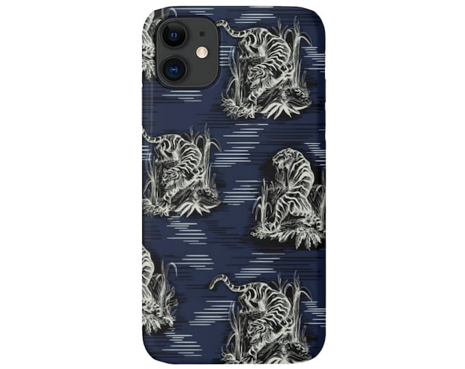 Tigers iPhone 11, XS, XR, X, 7/8, 6/6S Pro/Max/Plus/P Snap Case or TOUGH Protective Cover, Navy Blue Tiger/Animal Print/Pattern Galaxy lg