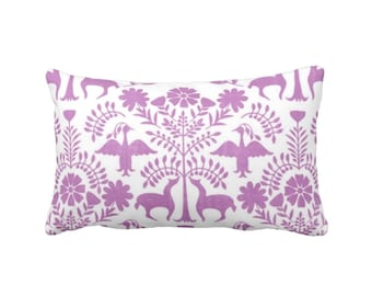 "Otomi Throw Pillow or Cover, Purple/White 14 x 20"" Lumbar Pillows or Covers, Bright Mexican/Boho/Floral/Flower/Fun Print/Pattern"