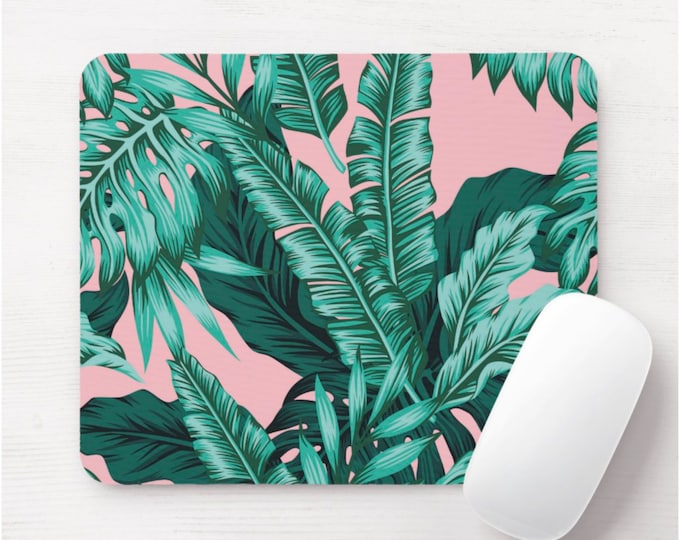 Retro Palms Mouse Pad, Colorful Tropical Mousepad, Dusty Pink/Teal Blue/Green Botanical Print/Pattern, Vintage Watercolor Hand Painted Art
