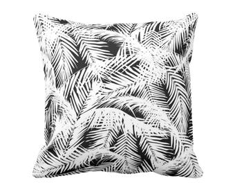 """Palm Leaves Throw Pillow or Cover, Black & White Print 16 or 20"""" Square Pillows or Covers, Tropical/Botanic Pattern"""