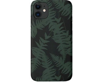 Ferns iPhone 11, XS, XR, X, 7/8, 6/6S Pro/Max/Plus/P Snap Cover or Tough Protective Case Dark Forest Green Tropical Fern Print Galaxy Huawei