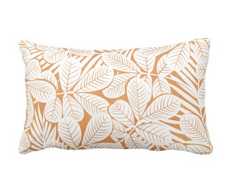 "OUTDOOR Modern Leaves Throw Pillow or Cover, Orange & White Print 20 x 14"" Lumbar Pillows/Covers, Burnt/Mango Retro Tropical Print/Pattern"