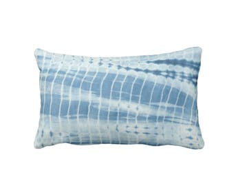 """Indigo Mud Cloth Print Throw Pillow or Cover, 14 x 20"""" Lumbar Pillows or Covers, Mudcloth/African/Tribal/Lines/Stripes/Geometric"""