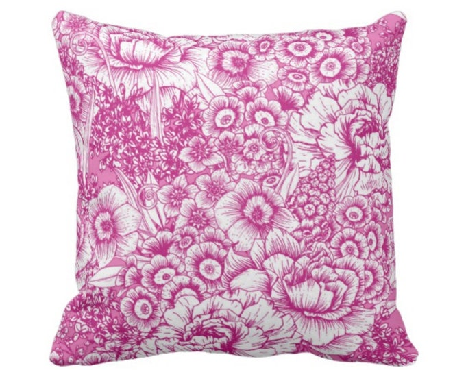 """OUTDOOR Retro Floral Throw Pillow or Cover, Bright Pink & White 16, 18 or 20"""" Square Pillows or Covers, Neon Fuchsia Granny Flowers"""