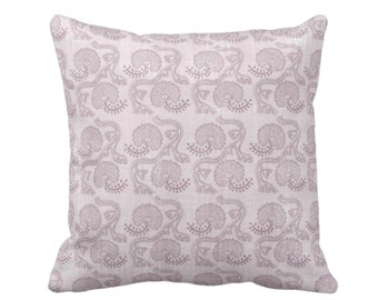 "Block Print Floral Throw Pillow or Cover, Lavender 16, 18, 20 or 26"" Sq Pillows or Covers, Dusty Purple Geometric/Tribal/Batik/Geo/Boho"