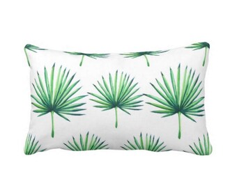 """OUTDOOR Fan Palm Print Lumbar Throw Pillow or Cover, Bright Green & White 14 x 20"""" Pillows or Covers, Leaves/Southwest/Tropical/Palms"""