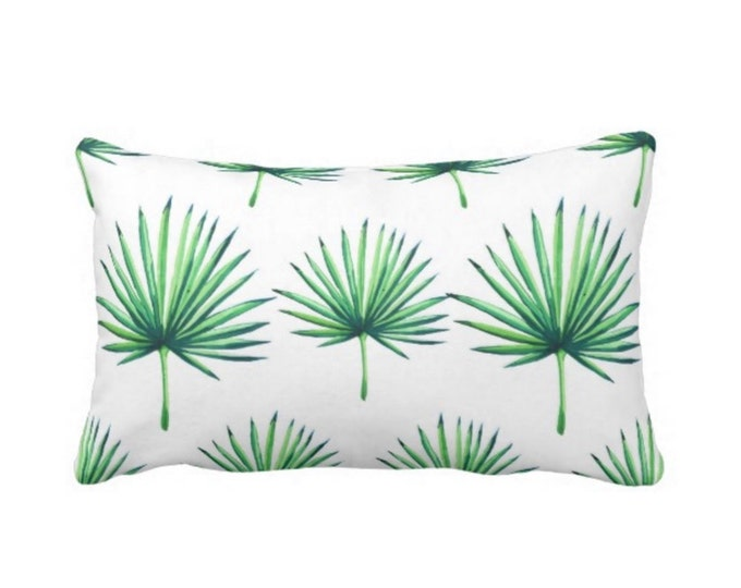 "OUTDOOR Fan Palm Print Lumbar Throw Pillow or Cover, Bright Green & White 14 x 20"" Pillows or Covers, Leaves/Southwest/Tropical/Palms"