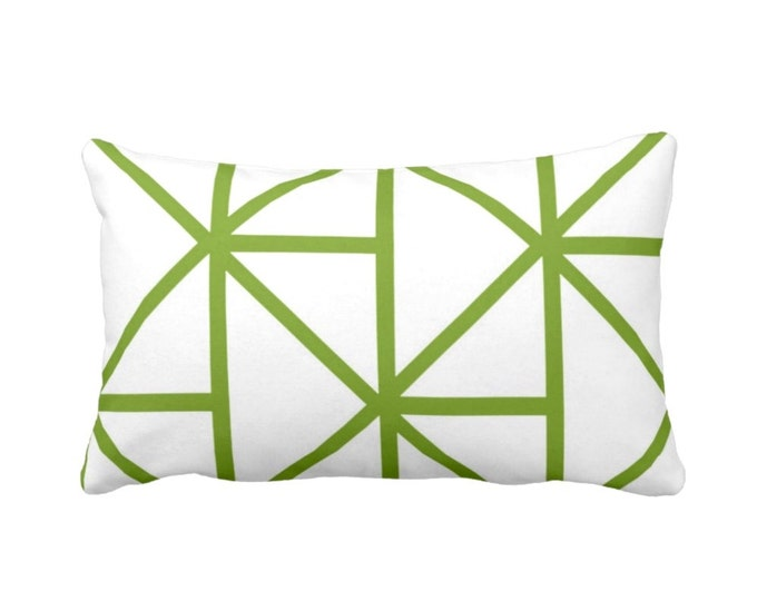 """Geometric Throw Pillow or Cover, Grass/White 14 x 20"""" Lumbar Pillows or Covers, Bright Green Modern/Geo/Lines/Stripes/Lattice"""